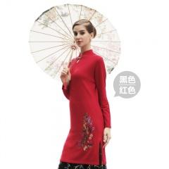 萨佐羊毛旗袍领连衣裙