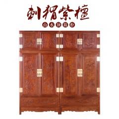 刺猬紫檀山水顶箱柜二件套(订金)赠红酸枝首饰盒