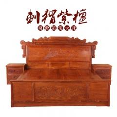 刺猬紫檀财源滚滚大床+2件床头柜(订金)