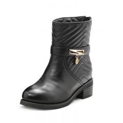 箴美时尚山丘纹小羊皮女靴