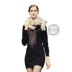 萨佐羊毛简约烫钻连衣裙