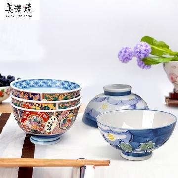 日本进口minoyaki美浓烧手绘陶瓷碗五件套花团锦簇纸盒装