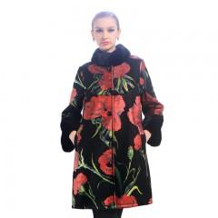 今昇 西西里玫瑰绵羊皮大衣 黑色印花