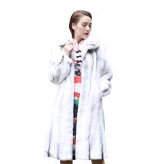 拉贝丽进口白金级十字貂本色长貂裘皮大衣