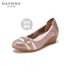 Daphne达芙妮 撞色舒软羊皮坡跟鞋