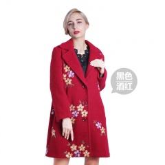 歌莱丹雅女士刺绣羊毛大衣(双11疯狂价)