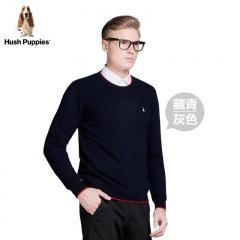 美国HushPuppies男士纯色简约羊绒衫