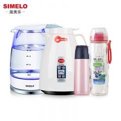 德國施美樂SIMELO玻璃電熱水壺1.8L+保溫壺1.5L+小鳥保溫杯+便攜拇指杯