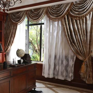 欧式金丝色织大提花工艺窗幔组