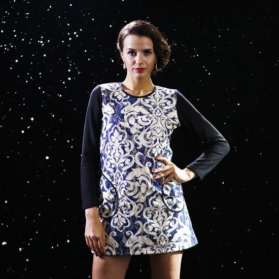 雪中飞时尚蕾丝3d印花保暖连衣裙