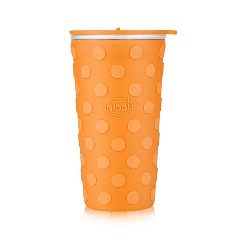 优道unibott 创意设计保温杯(400ml) 波点鲜橙橘