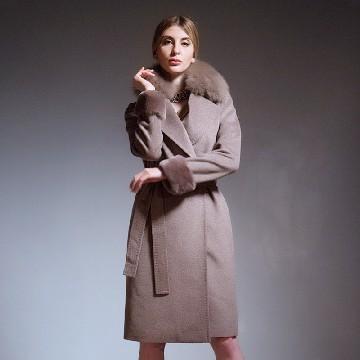 今昇 大狐狸毛领长款羊毛大衣