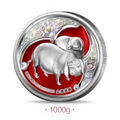 《金猪·拱福》生肖纪念银币1000g