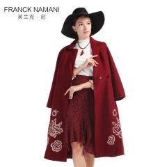 Franck Namani芙兰克·尼雕花刺绣双面羊毛大衣