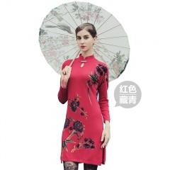 萨佐 羊毛印花旗袍领连衣裙羊毛衫羊毛裙
