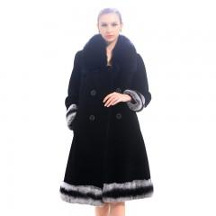 今昇 长款狐狸毛领羊毛大衣