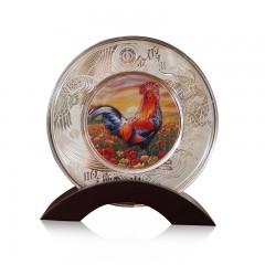 2017丁酉鸡年高浮雕彩色银盘