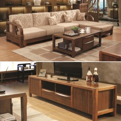 一善一品新中式客厅家具套组(沙发1个+茶几1个+电视柜1个)