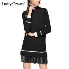 LuckyOzasec女士毛衣裙短款加厚打底针织连衣裙1868