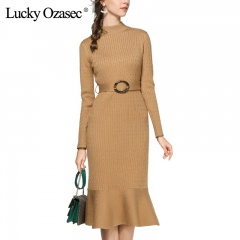 LuckyOzasec女士加厚打底连衣裙收腰长袖针织鱼尾裙毛衣裙1862