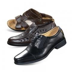 格蒂尼男士头层牛皮商务休闲鞋2+1套组 皮鞋男鞋