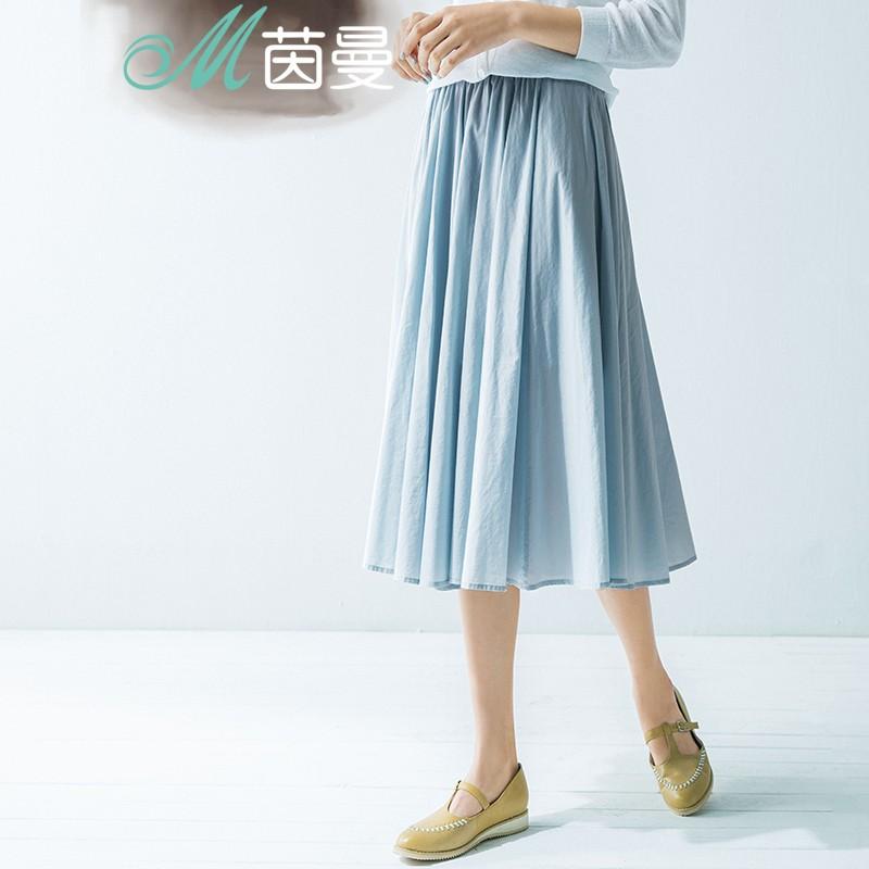 茵曼半身裙白色文艺纯棉百褶裙夏中长裙1862111792 浅水蓝 s