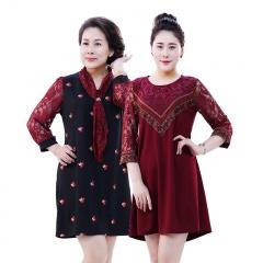 歌莱丹雅刺绣编织蕾丝连衣裙1+1组