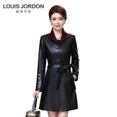 路易乔登时尚撞色中长款绵羊皮风衣