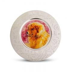 上幣2018狗年高浮雕彩色銀盤章