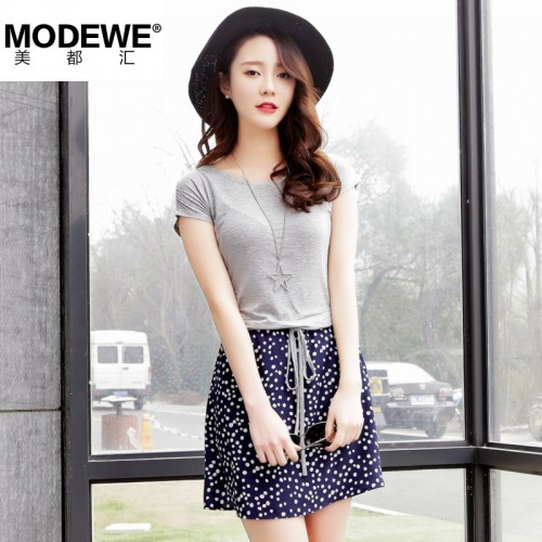 Modewe印花圆领短袖连衣裙