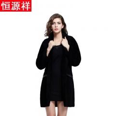 恒源祥女士夜空黑中长款羊毛大衣