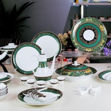 首届APEC首脑会议国宴指定专用餐具—绿金富贵珍藏组