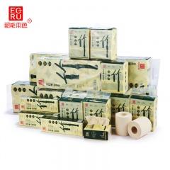 韶能本色 高端竹纖維紙品 家庭超值裝 卷紙*80卷 抽紙*24包 手帕紙*40包