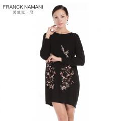 FrankNamani芙蘭克·尼手工刺繡羊毛裙(黑)