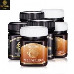 新西兰进口瑞琪奥兰麦卢卡蜂蜜(UMF10+)250g*3瓶+野地花蜂蜜250g*3瓶
