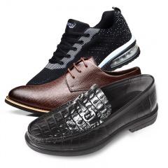 鳄鱼恤经典鳄鱼纹牛皮皮鞋3双套组