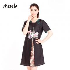 Merefa香云纱连衣裙《凤凰于飞》