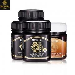 新西兰原装进口RICHORA麦卢卡花蜂蜜(UMF5+)250克*3瓶