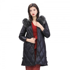 娜雅梦露超大狐狸毛显瘦皮鹅绒服大衣