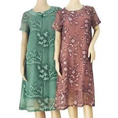 歌莱丹雅幻影雕花刺绣连衣裙2条组 配打底裙