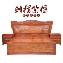 刺猬紫檀 雕花豪华床(订金1)