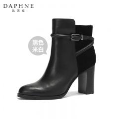 Daphne达芙妮时尚拼接高跟短靴