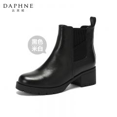 Daphne达芙妮切尔西真皮加绒短靴