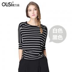欧力丝经典黑白条纹针织衫 上衣 针织七分袖584602/584601