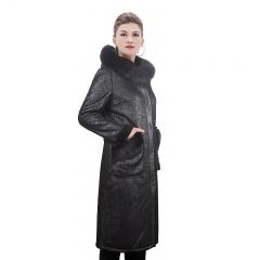 佰朗帝女士狐狸毛领双面穿羊剪绒大衣