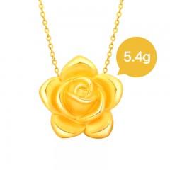 翠绿3D硬金金彩系列玫瑰吊坠5.4克