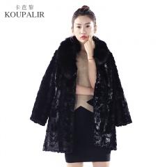 卡芭黎奢华狐狸毛领中长款水貂大衣