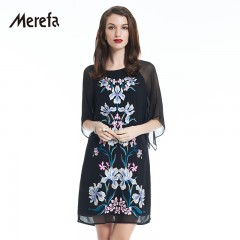 Merefa 重工刺绣真丝连衣裙 黑色