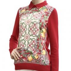 上海 春竹巴洛克式烫钻100%羊绒衫 红色