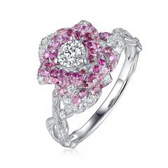 """国翠""""花语""""钻石蓝宝石戒指"""